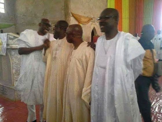 Ekiti State incumbent governor, Ayo Fayose and former governor, Kayode Fayemi (far left) still in a jolly mood at birthday service of former governor, Segun Oni on Sunday, december 7, 2014 in Ekiti (Photo Credit: Punch)