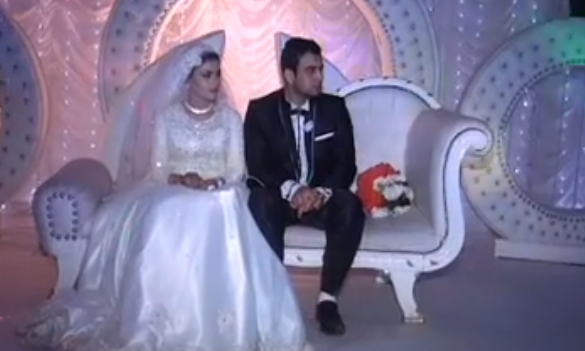 Egyptian bride and groom before he springs his Isis kidnap prank on her
