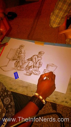 A Contestant While Drawing