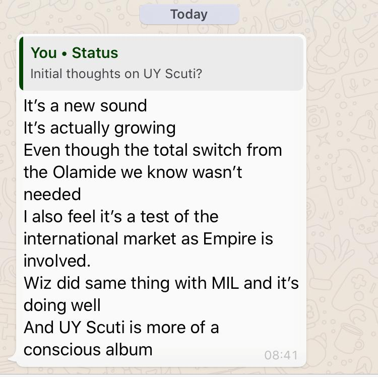 Whatsapp review on the album